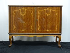 Sideboard with refined marquetery and ornate Queen Anne style legs.