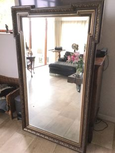 Large wooden faceted mantelpiece mirror