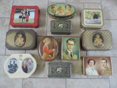 A collection of 11 Royal Family biscuit tins
