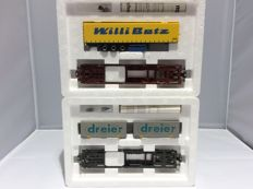 "Märklin H0 - 47440/47441 - 2x deep loader, 1x with trailer ""Will Betz"", and 1x with 2 detachable exchange containers 'Dreier' (2327)"