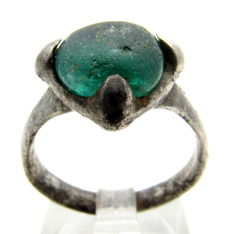 Saxon Era Silver Ring with Teal Stone - WEARABLE GIFT WITH GIFT BOX - 18mm (inner Diameter)