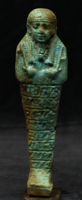 Egyptian faience ushabti with 10 horizontal lines of text - 176 mm