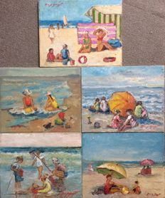Van Bempt (°1940) - Strandplezier- lot of 5