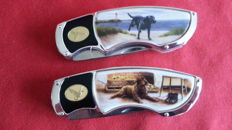 Franklin mint  jachtmes  collectors knife labradors, chroom 2 stuks