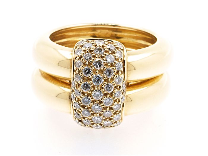 "Chaumet – ring model ""DUO"" yellow gold and diamonds, signed and numbered in a Chaumet box  Size 52"