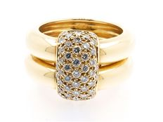 "Chaumet - ""DUO"" model ring, yellow gold and diamonds, signed and numbered, Chaumet box  Size: 52"