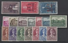 "Belgium - complete series OBP numbers 305 to 314. Stamps with overprint ""B.I.T. OCT. 1930"" and series ""Castles"" and numbers 326 to 332 Queen Elisabeth ""Nurse"""
