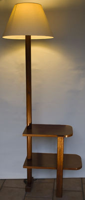 Art Deco reading lamp in varnished wood