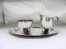 Silver cream set on tray, Wihelm Binder, Germany 1st half of the 20th century