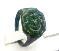 Medieval bronze ring with runes 22mm