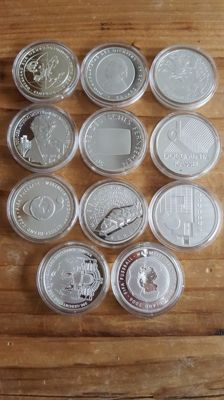 Germany - 10 Euro 2002/2004 (total 11 pieces) - silver.