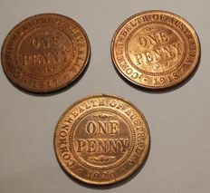 Australia - Penny 1917, 1918 and 1929 George V - Bronze