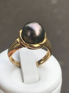 Gold ring and Tahitian pearl Size 54 / 17.32 mm