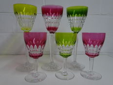 "6 Val Saint Lambert crystal wine glasses, ""Taille Esneux doublé"", Belgium, mid 20th century"