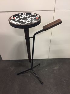 Designer unknown - Cigarette stand or vide poche with mosaic, wood and iron