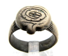 Viking Bronze Seal Ring with Mysterious Symbol on Bezel - WEARABLE GIFT WITH GIFT BAG - 17mm