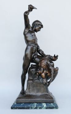 Marcel Debut (1865-1933) - large sculpture - powerful male nude - fight with an eagle - metal cast in a bronzed finish - beginning of the 20th century