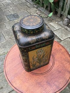 Lithographed Art Nouveau storage tin