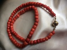 Stunningly Beautiful Necklace, Warm, Beautiful Deep Orange-Red Colour - Genuine, 100% Natural Mediterranean Sea - 43 grams of Precious Corals, Beautiful Quality   Pristine Antique Clasp
