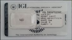 Diamond 0.43 ct - Oval - D/I1 - IGL certificate - No reserve price