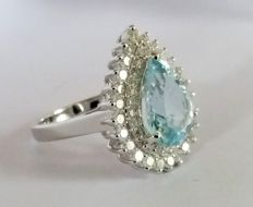 A 4.19ct Aquamarine and Diamond ring.***no reserve***