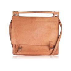 Vintage Beige Tan Leather Double Flap Shoulder Bag