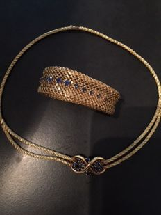 Gold 18 kt and natural sapphire set 92 g