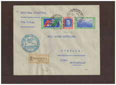 Kingdom of Italy 1933 - North Atlantic Crossing Balbo, 5.25 Lire + 44.75 Lire, Aircraft I Napo, cancelled on aerogramme - Sass. N. 52M