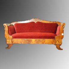 France - Charles X boat-shaped sofa in walnut - circa 1825