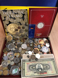 World – Batch of various coins, tokens, archaeological finds and paper money (± 6 kg), including silver, in box