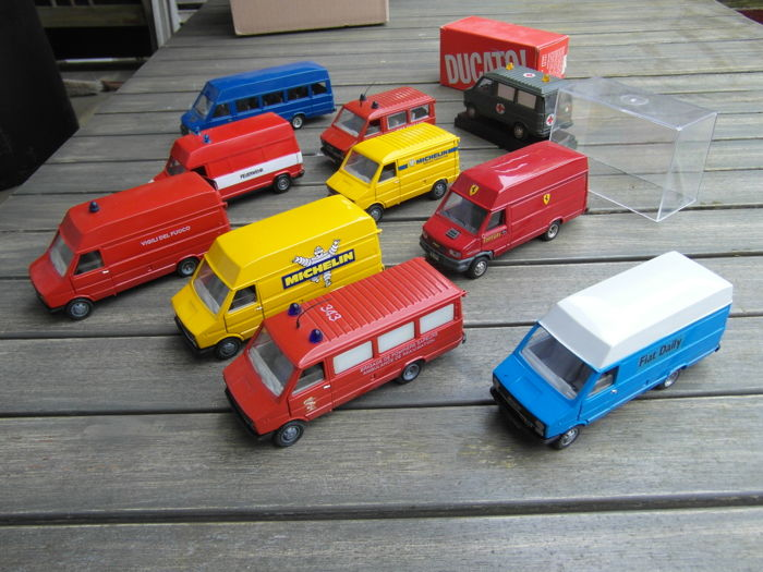 Old Cars NZG Scale Lot With Models X Fiat Iveco - Old cars model