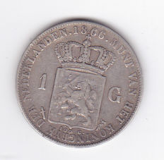 Holland - 1 Gulden (Guilder) 1866 Willem III - silver