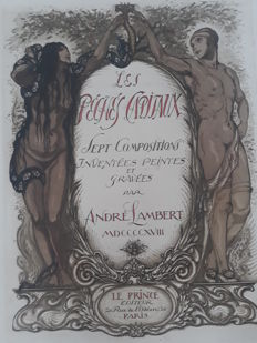 Complete folder by André Lambert (1884 - 1964) - Les sept péchés capitaux - 1918 - limited edition, large size 47.5 x 35 cm per engraving