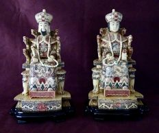 Pair of dignitaries in bone - China - mid-20th century