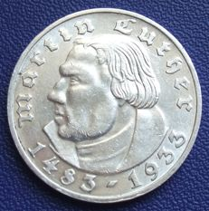 Third Reich - 2 Marks 1933 G - 450th birthday of Martin Luther - silver