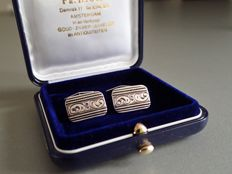 Signed KH, is Karl Homann, Pforzheim, Germany - Art Deco silver cufflinks with engine turning and engraving details.