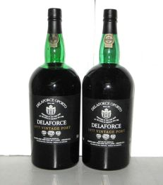 1977 Delaforce Vintage Port – lot of 2 magnums, 1.5 L.