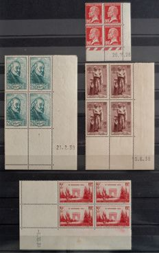 France 1926/39 - dated corners, semi modern, Pasteur 90c, Armistice, Cezanne and Sailors - Yvert CD no. 178, 403, 421 and 447