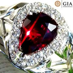 Red Ruby Ring Cocktail Diamond And 18 kt gold Unheated Natural Gemstone 1.76 ct Size 6.5 – GIA Certified – No Reserve
