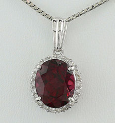 Rhodolite brilliant pendant 5.23 ct, 900 platinum **NO RESERVE!*