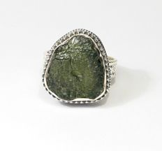 Moldavite Ring - 925 sterling silver - inner diameter 19.1 mm