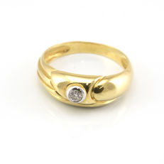18 kt yellow gold - Cocktail ring - Brilliant cut diamond weighing 0.15 ct - Inner diameter: 17.85 mm