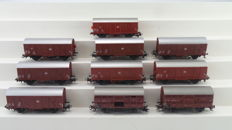 Märklin H0 - 4411/4410 and others - 10 closed freight cars and poultry cars of the DB