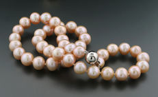 Naturally coloured cultured pearl necklace in apricot, 585 white gold, freshwater pearls ---no reserve---