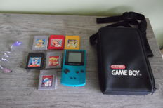 Gameboy color green with battery and serial nr + 6 topgames pokémon red +  pokémon yellow + donkey kong and more