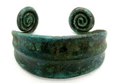 Medieval Viking period Bronze Bracelet with Coiled Terminals - Wearable Gift with Gift Bag - 57 mm