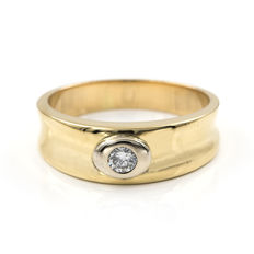 18 kt (750/1000) yellow gold - Cocktail ring - 0.25 ct diamond  - Inner diameter: 19.20 mm