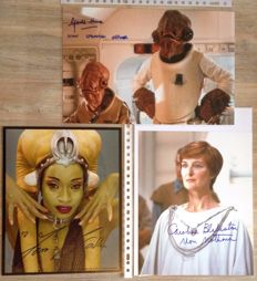 Star Wars - 2x signed 8x10 inch + 1x 20x30cm photos - autographed by Caroline Blakiston as Mon Motha, Femi Taylor as Oola, Gerald Home as Mon Calamari Officer
