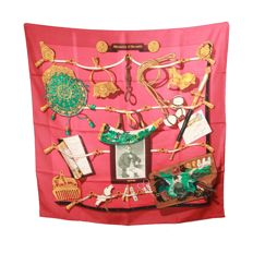 Hermès Paris - Red Silk Scarf 1992 Memoires D'hermes By Cathy Latham