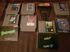 6 Nintendo Nes Games : Chip n Dale Rescue Rangers +  Tiger Heli +  Rollergames +  Solstice + Shadowgate + Golf and a Game Genie